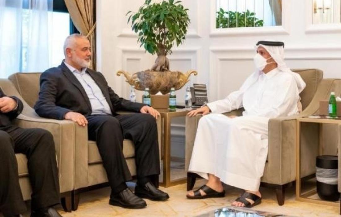 هنية ووزير الخارجية القطري