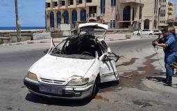 قصف سيارة غرب غزة