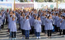 طابور المدرسة في غزة