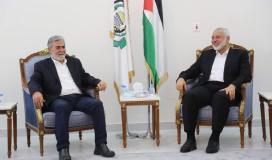 الامين العام لحركة الجهاد الاسلامي القائد زياد النخالة ورئيس المكتب السياسي لحركة حماس اسماعيل هنية