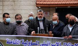 وليد المدلل القيادي في حركة الجهاد الاسلامي خلال وقفة تضامنية مع الاسرى قبالة الصليب الاحمر بغزة.jpg