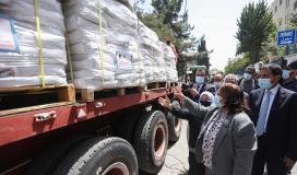 وزيرة الصحة مي الكيلة تتسلم مساعدات من الأردن
