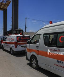 مغادرة الفوج الأول لجرحي العدوان الإسرائيلي الى المستشفيات المصرية عبر معبر رفح البري
