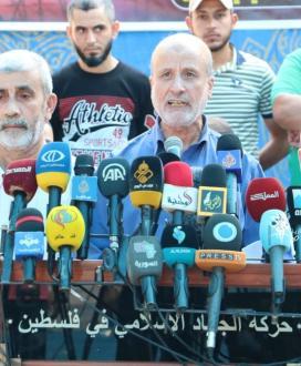 """بالصور:""""الجهاد الإسلامي"""" تعقد مؤتمرًا صحفيًا للحديث حول انتصار الأسرى في معركة الاضراب عن الطعام ضد السجان"""